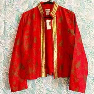 Chico's Red Silk Open Front Jacket